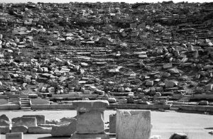 view of amphitheatre from the stage on Greek island of Delos