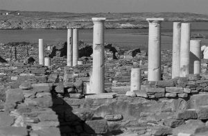 view of ruined columns on Delos
