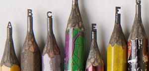 letters carved into pencil leads