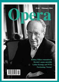 cover, OPERA Magazine, featuring ML Hart's portrait of Rodney Milnes