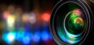 camera lens with multicolored lights