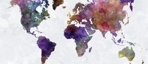 world map in watercolor painting