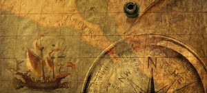 antique map with compass points