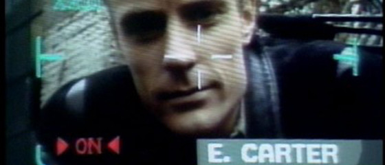 Screen shot of character, Edison Carter, from TV show, Max Headroom