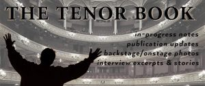 cover treatment for The Tenor Book with silhouette of man at opera house