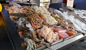 seafood on display in food truck at feria, Montevideo, Uruguay