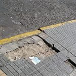 City sidewalk with broken sections, Montevideo, Uruguay