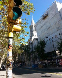 street corner with stoplight, church, Montevideo, Uruguay