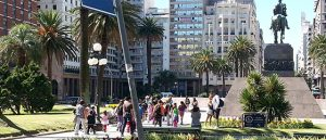 tourists visit Plaza Independencia, Montevideo