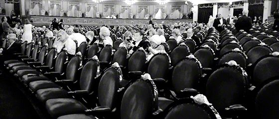 View of opera house seats with some audience waiting for performance