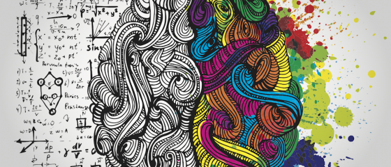 drawing of imaginary brain in monochrome on left, color on right