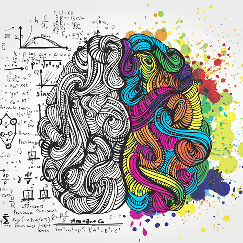 inspiration in a drawing of imaginary brain in monochrome on left, color on right