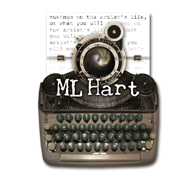 ML Hart logo - vintage typewriter with camera lens