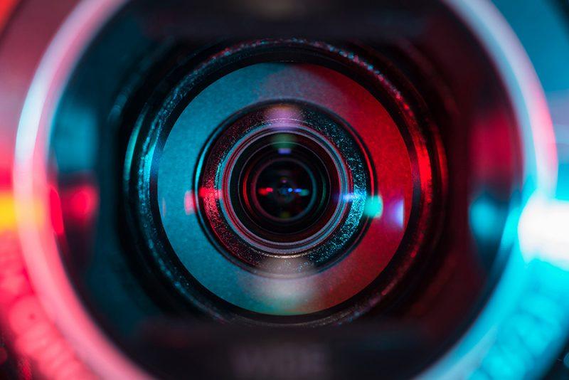 head-on closeup of camera lens
