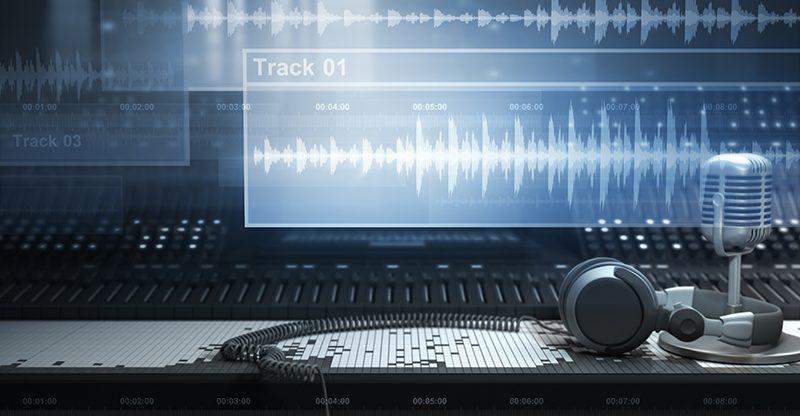 sound studio equipment and digital audio tracks