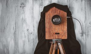 photo illustration of wooden view camera