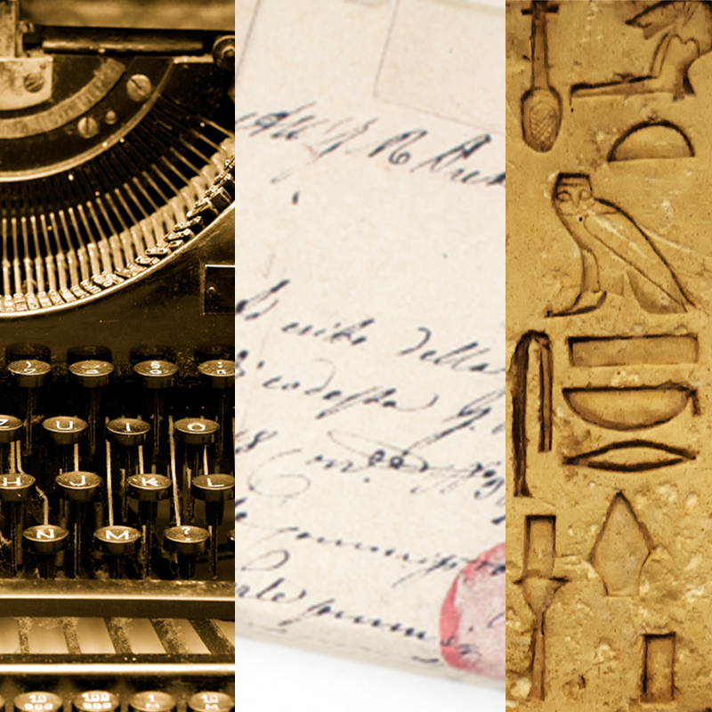 hardwired for story theme shown in montage for communication with vintage typewriter keys, cursive script, hieroglyphics