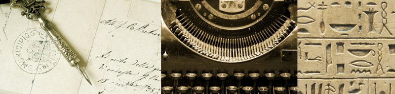 methods of writing - pen, typewriter, hieroglyphics
